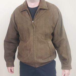 Baracuta Brown Leather Suede Zip Jacket Sz. L